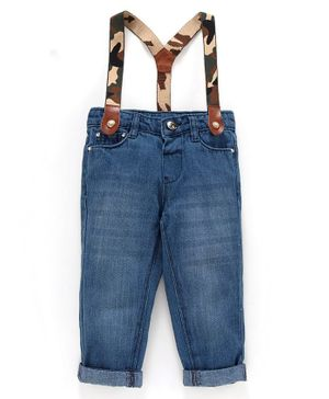 Babyoye Cotton Full Length Cotton Jeans With Suspenders - Blue
