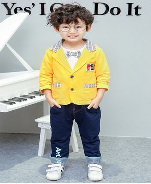 Pre Order - Awabox Plaid Full Sleeves Coat With Tee & Denim Pants Set With Attached Bow Tie - Yellow