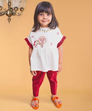 Tiber Taber Lion Embroidered Half Sleeves Top & Pants Set - White & Red