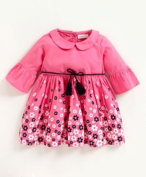 Babyoye Full Sleeves Frock Floral Pink - Pink