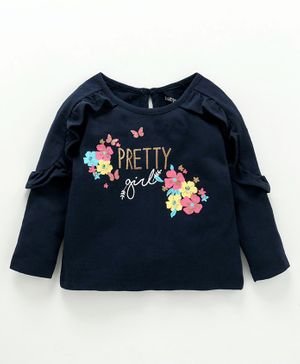 Babyoye Full Sleeves Cotton Top Floral Print - Navy Blue