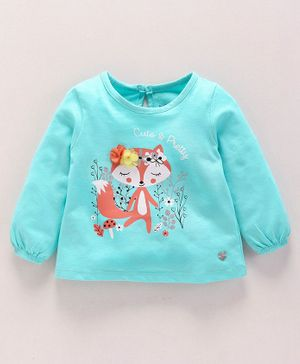 Babyoye Cotton Full Sleeves Top Squirrel Print - Teal Green