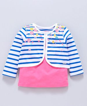 Babyoye Cotton Top With Striped Full Sleeves Shrug Floral Print - Pink