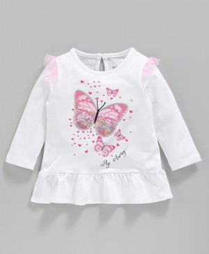 Babyoye Full Sleeves Cotton T-Shirt Butterfly Print - White