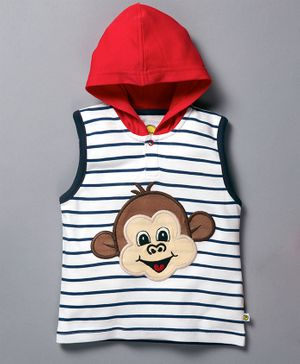 Pranava Striped Sleeveless Monkey Patch Hooded T-Shirt - Blue