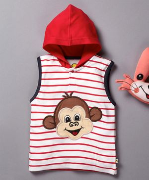 Pranava Striped Sleeveless Monkey Patch Hooded T-Shirt - Red