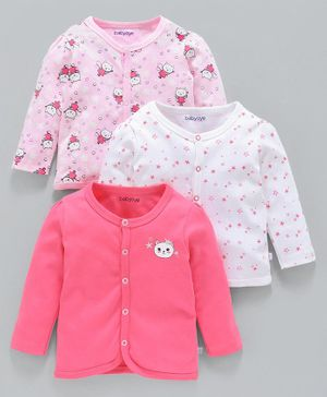 Babyoye Full Sleeves Cotton Vests Kitty Print Pack of 3 - White Pink