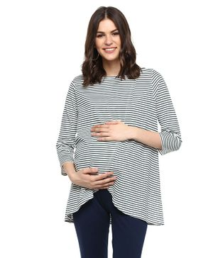 Momsoon Three Fourth Sleeves Striped Nursing Top With Wrap Overlay - White