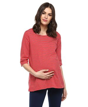 Momsoon Three Fourth Sleeves Striped Maternity Top - Red