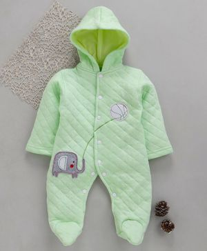 Tappintoes Full Sleeves Footed Romper With Hood Elephant Patch - Light Green