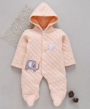Tappintoes Full Sleeves Footed Romper With Hood Elephant Patch - Light Peach