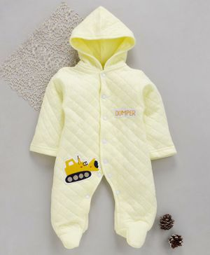 Tappintoes Full Sleeves Footed Romper With Hood Dumper Patch - Light Yellow