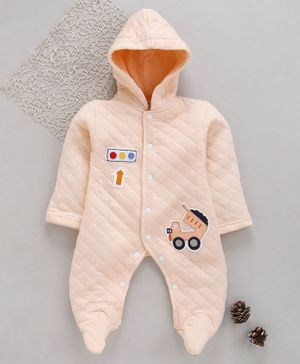 Tappintoes Full Sleeves Footed Romper With Hood Truck Patch - Light Peach