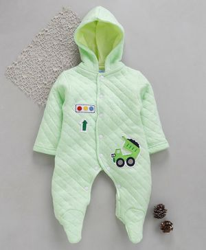 Tappintoes Full Sleeves Footed Romper With Hood Truck Patch - Light Green