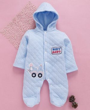 Tappintoes Full Sleeves Footed Romper With Hood Crane Patch - Light Blue