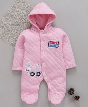 Tappintoes Full Sleeves Footed Romper With Hood Crane Patch - Light Pink