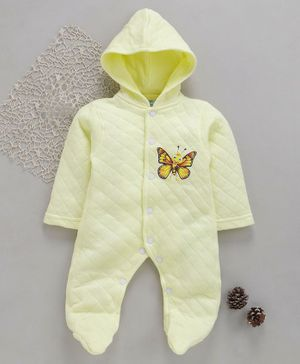 Tappintoes Full Sleeves Footed Romper With Hood Butterfly Print - Yellow