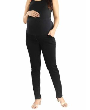 Mamma's Maternity Solid Full Length Denim Jeans - Black