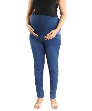 Mamma's Maternity Solid Full Length Denim Jeans - Light Blue