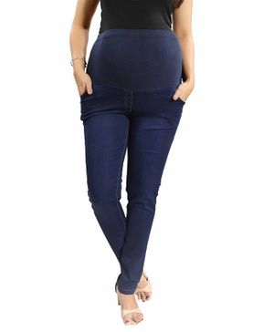 Mamma's Maternity Solid Full Length Denim Jeans - Dark Blue