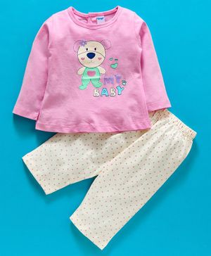 Tango Full Sleeves Tee And Lounge Pant Bear Print - White Pink