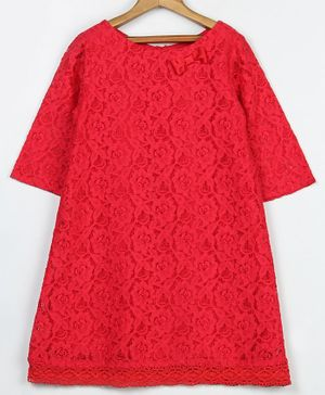 Beebay Full Sleeves Floral Lace A Line Dress - Red