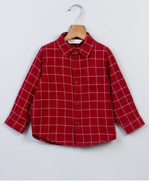 Beebay Full Sleeves Checked Shirt - Maroon