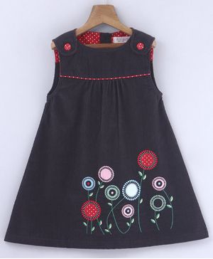 Beebay Floral Embroidered Sleeveless Pinafore Dress - Grey