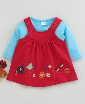 Olio Kids Dungaree Style Frock With Inner Tee Floral & Butterfly Embroidery - Blue Red