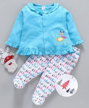 Olio Kids Full Sleeves Tee & Footed Leggings Reindeer Embroidery - Blue