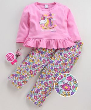 Olio Kids Full Sleeves Top & Printed Leggings Unicorn Print - Pink