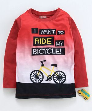 Eteenz Full Sleeves Tee Bicycle Print - Red