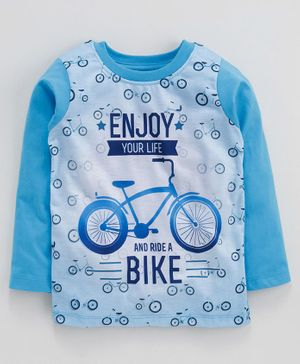 Eteenz Full Sleeves T-Shirt Bike Print - Teal Blue