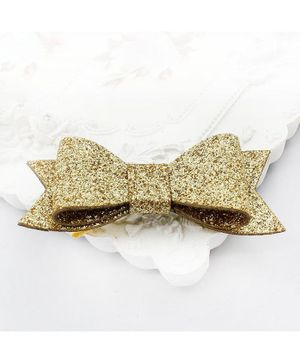 Flaunt Chic Shimmer Bow Hair Clip - Gold