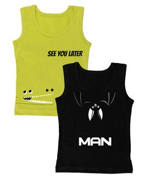 Plan B Animal Talk Pack Of 2 Sleeveless Boys Vest - Black & Green