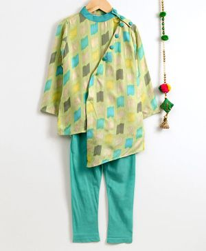 Cute Couture All Over Print Full Sleeves Kurta & Pajama Set - Light Green