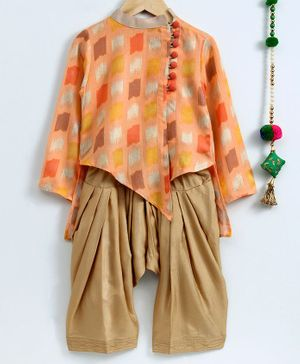 Cute Couture All Over Print Full Sleeves Kurta & Patiala Set - Orange