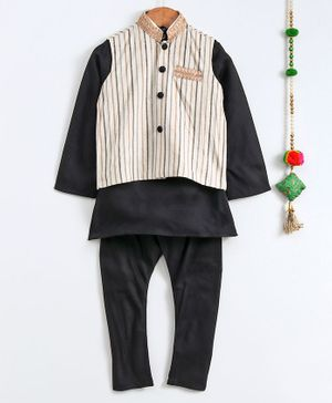 Cute Couture Full Sleeves Solid Kurta With Striped Lace Detailed Jacket & Pajama - Black & White