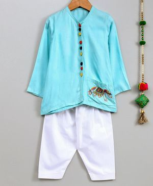 Cute Couture Full Sleeves Elephant Embroidered Full Sleeves Kurta & Pajama Set - Light Blue