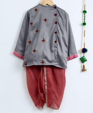 Cute Couture Parrot Embroidered Full Sleeves Kurta & Checkered Dhoti Set - Grey & Pink