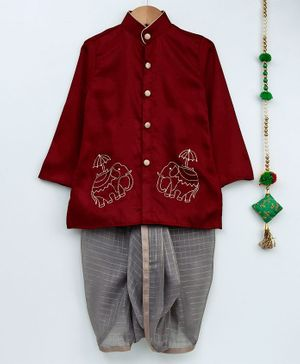Cute Couture Elephant Embroidered Full Sleeves Kurta & Checkered Dhoti Set - Grey & Maroon