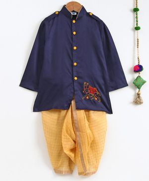 Cute Couture Camel Embroidered Full Sleeves Kurta & Checkered Dhoti Set - Blue & Yellow