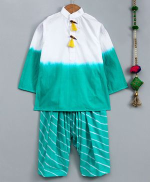 Cute Couture Ombre Kurta Full Sleeves With Lehariya Patiala - White & Blue