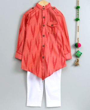 Cute Couture Ikat Print Full Sleeves Kurta & Pajama Set - Peach & White