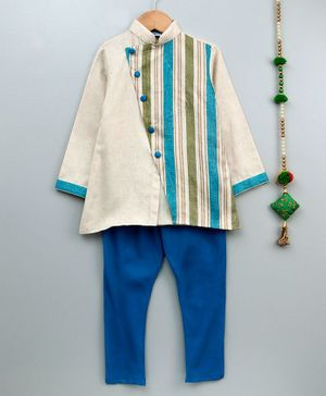 Cute Couture Full Sleeves Striped Kurta & Pajama Set - Beige & Blue