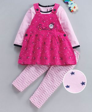 U R Cute Full Sleeves Tee With Pinafore Style Unicorn Print Dress & Bottom Set - Pink