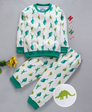 Nite Flite Dinosaur Print Full Sleeves Night Suit - White