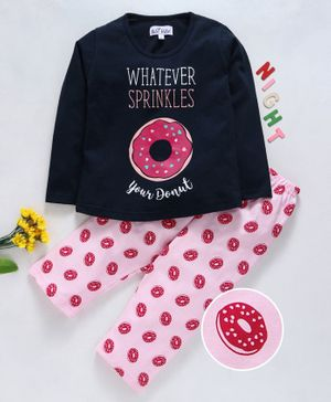 Nite Flite Doughnut Print Full Sleeves Night Suit - Navy Blue