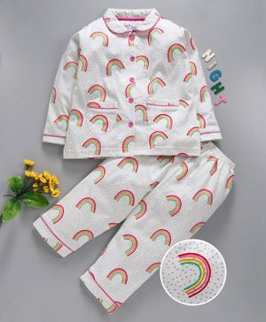 Nite Flite Rainbow Print Full Sleeves Night Suit - White