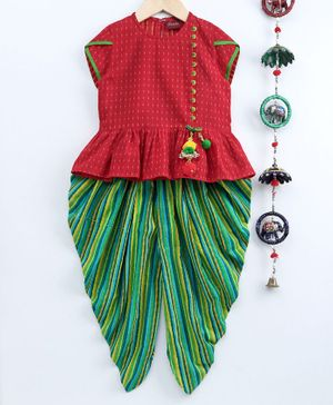Twisha Short Sleeves Potli Button Decorated Top With Striped Dhoti - Multi Colour